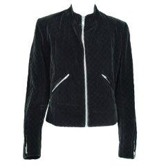 1970s Yves St Laurent YSL quilted velvet motorcycle jacket
