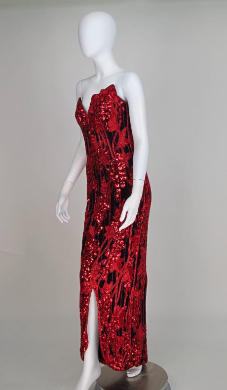 1990s Bob Mackie red & black sequin mermaid gown 2