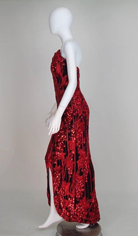 1990s Bob Mackie red & black sequin mermaid gown 3