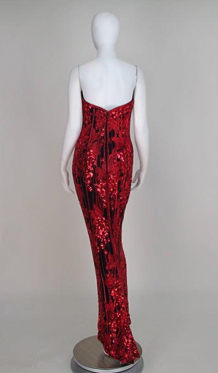 1990s Bob Mackie red & black sequin mermaid gown 4