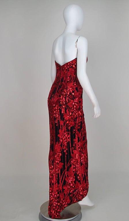 1990s Bob Mackie red & black sequin mermaid gown 5