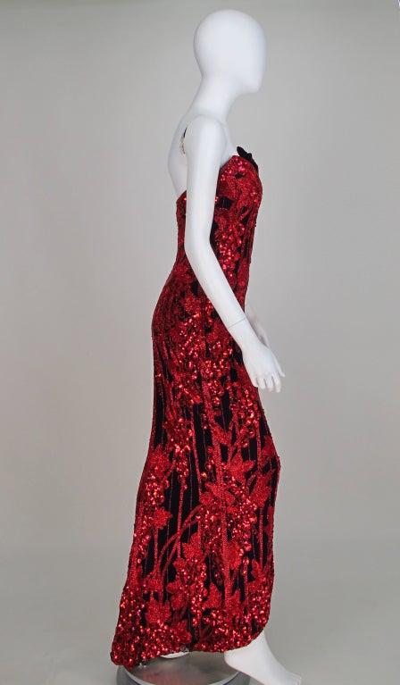 1990s Bob Mackie red & black sequin mermaid gown 6