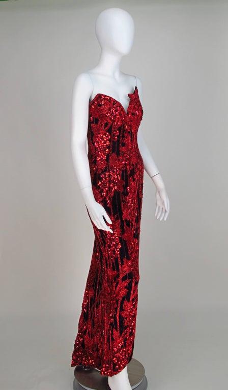 1990s Bob Mackie red & black sequin mermaid gown 7