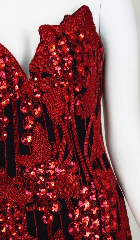 1990s Bob Mackie red & black sequin mermaid gown 9