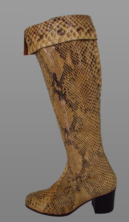 italian custom made python knee high boots 1960s for sale