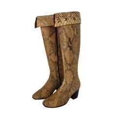 Italian Custom made python knee high boots 1960s