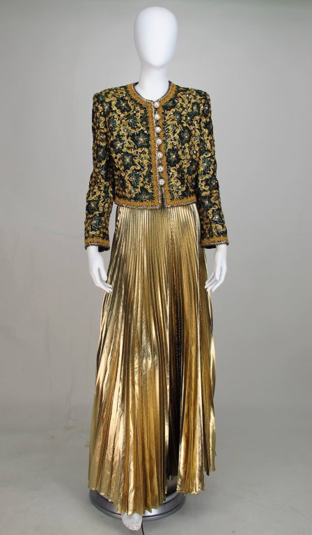 Adolfo beaded brocade jacket & gold pleated maxi skirt 2