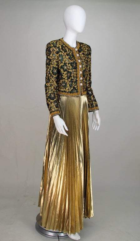 Adolfo beaded brocade jacket and gold pleated maxi skirt at 1stdibs