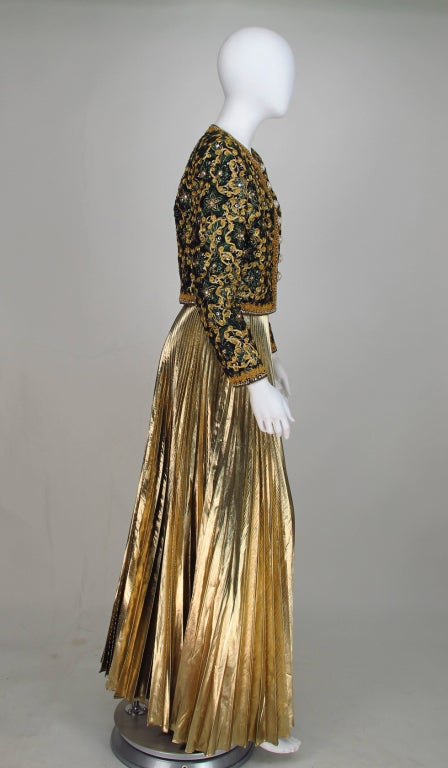 Adolfo beaded brocade jacket & gold pleated maxi skirt 4