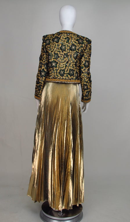Adolfo beaded brocade jacket & gold pleated maxi skirt 5