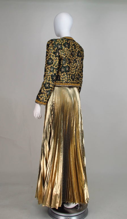 Adolfo beaded brocade jacket & gold pleated maxi skirt 6