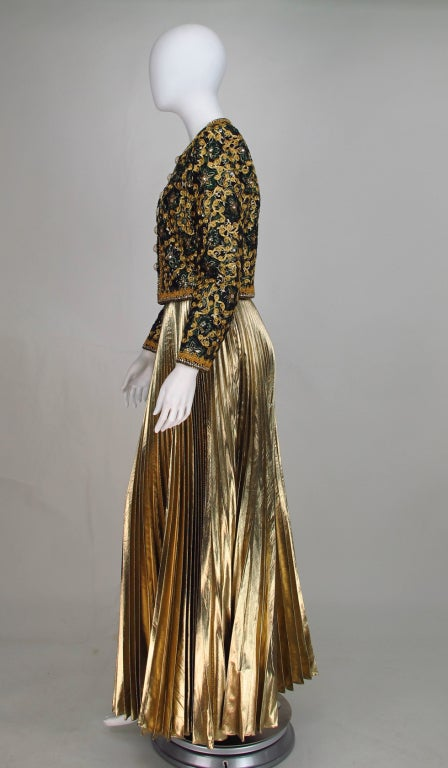 Adolfo beaded brocade jacket & gold pleated maxi skirt 7