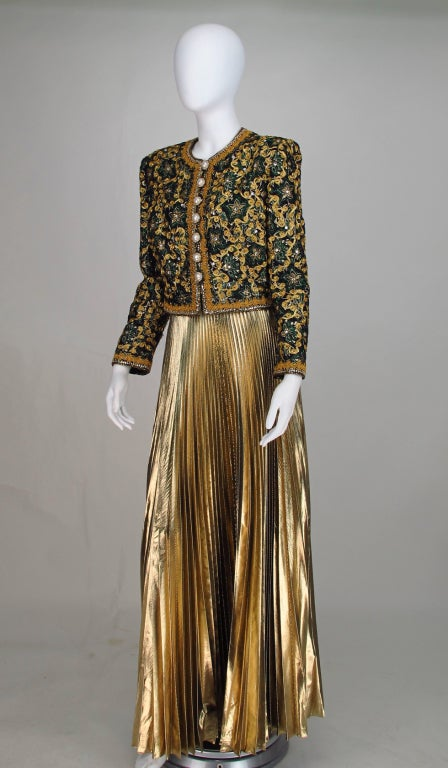 Adolfo beaded brocade jacket & gold pleated maxi skirt 8