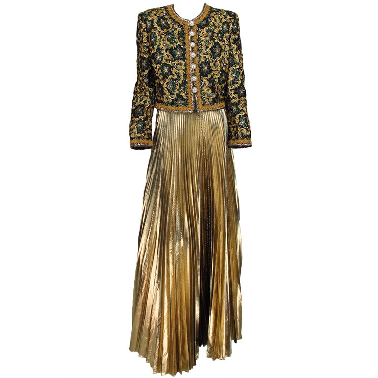 Adolfo beaded brocade jacket & gold pleated maxi skirt 1