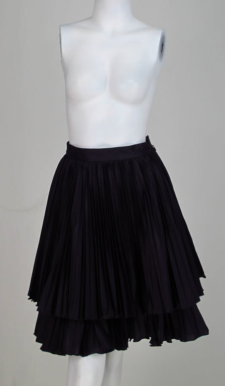 Valentino double tier knife pleated  mini skirt 2