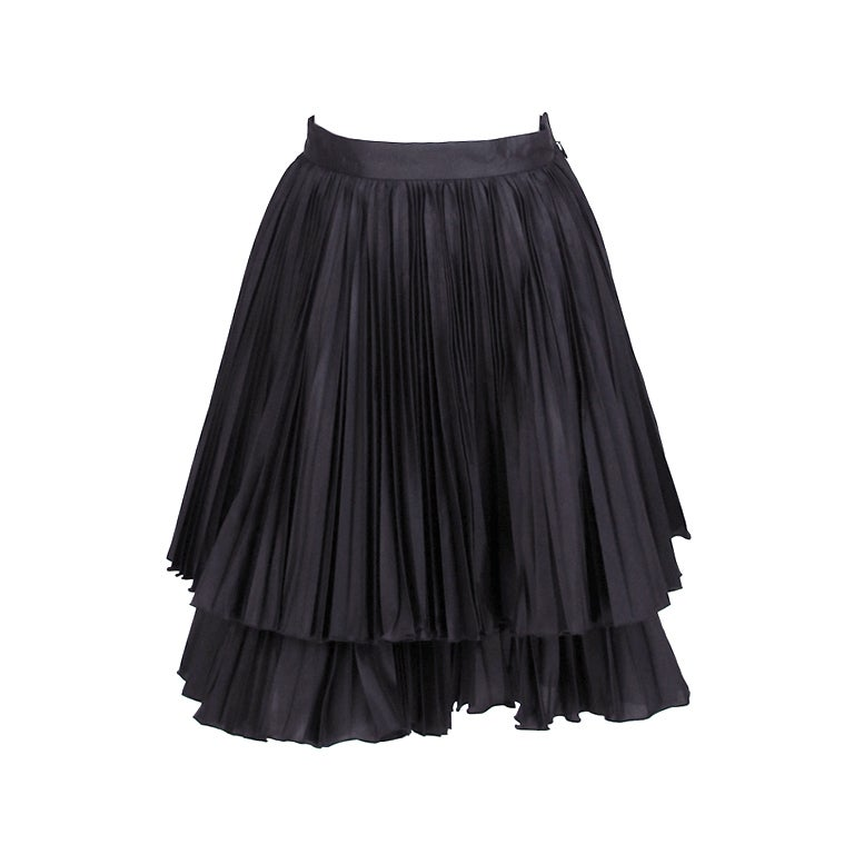 Valentino double tier knife pleated  mini skirt 1
