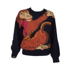 Rare Krizia Maglia Monkey Love sweater 1980s