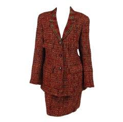 1990s Chanel russet tweed suit