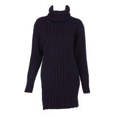 1990s Chanel ribbed wool turtleneck tunic dress