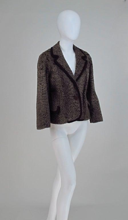 Vintage cocoa brown Karakul fur jacket 1950s 2