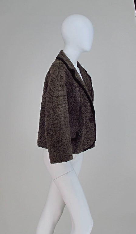 Vintage cocoa brown Karakul fur jacket 1950s 3