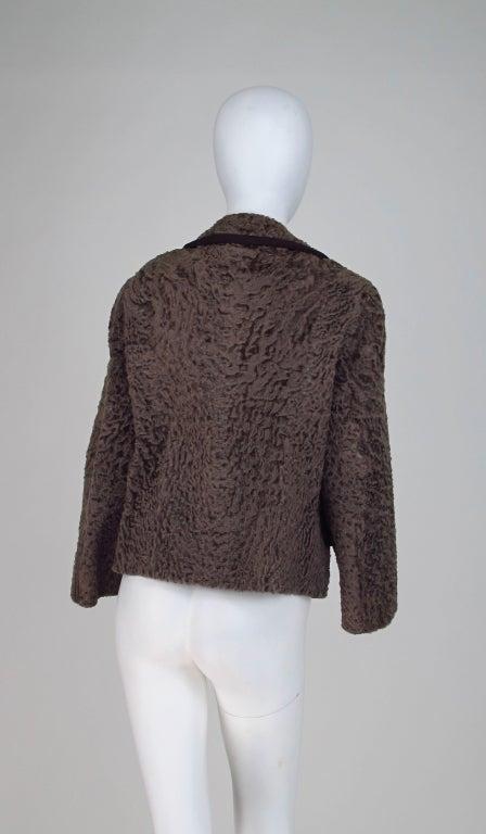 Vintage cocoa brown Karakul fur jacket 1950s 4
