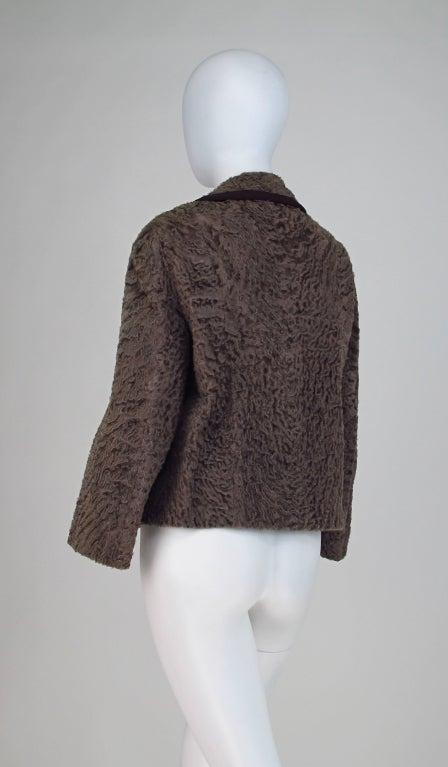 Vintage cocoa brown Karakul fur jacket 1950s 5