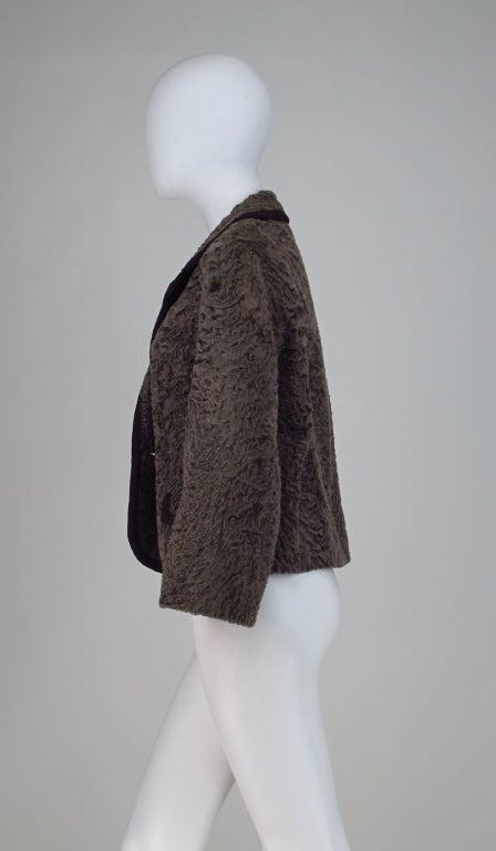 Vintage cocoa brown Karakul fur jacket 1950s 6