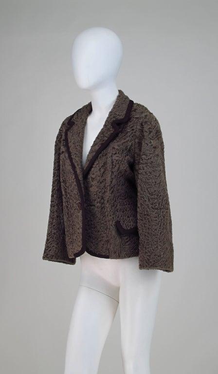 Vintage cocoa brown Karakul fur jacket 1950s 7
