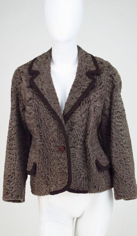 Vintage cocoa brown Karakul fur jacket 1950s 8