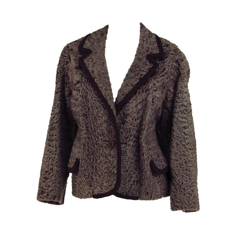 Vintage cocoa brown Karakul fur jacket 1950s 1