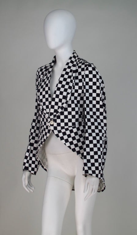 Black Comme des Garcons black & white check cutaway coat For Sale