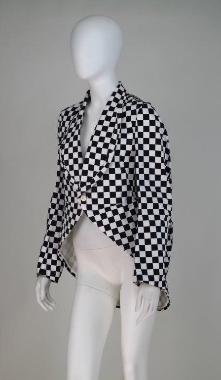 Comme des Garcons black & white check cutaway coat 4