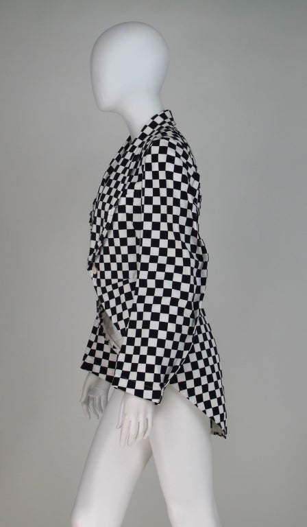 Comme des Garcons black & white check cutaway coat For Sale 1