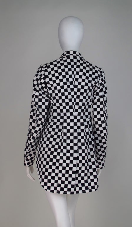 Comme des Garcons black & white check cutaway coat For Sale 2