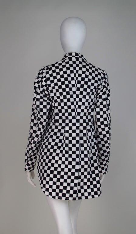 Comme des Garcons black & white check cutaway coat 6