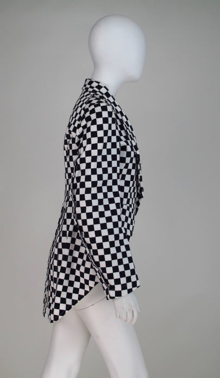 Comme des Garcons black & white check cutaway coat For Sale 3