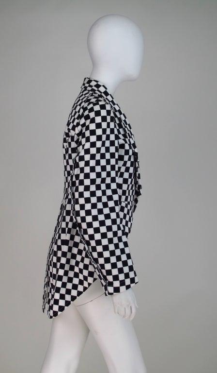 Comme des Garcons black & white check cutaway coat 7