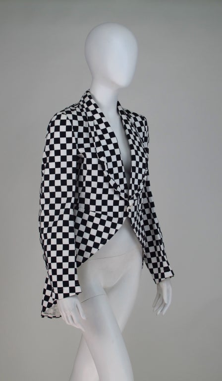 Comme des Garcons black & white check cutaway coat For Sale 4