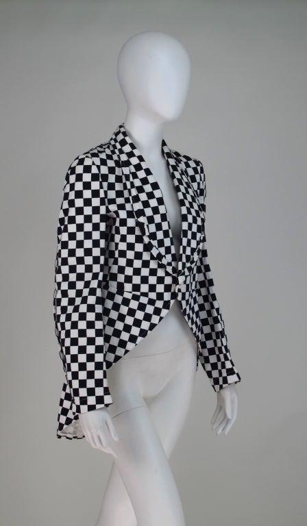 Comme des Garcons black & white check cutaway coat 8