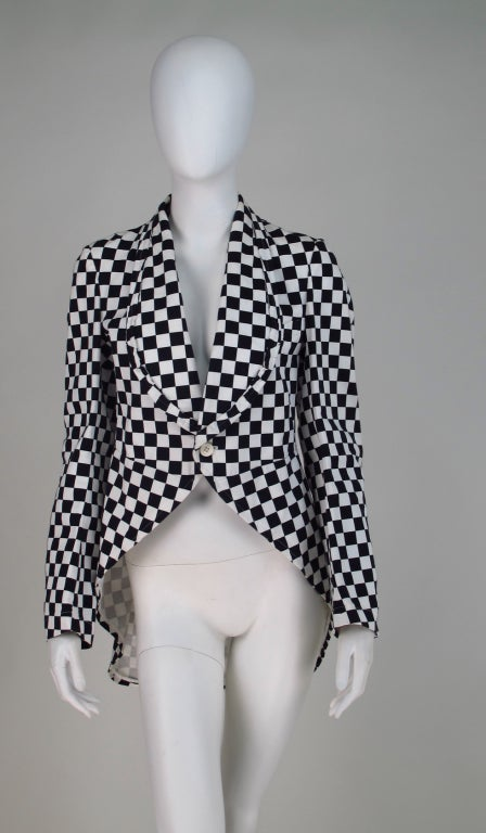 Comme des Garcons black & white check cutaway coat For Sale 5