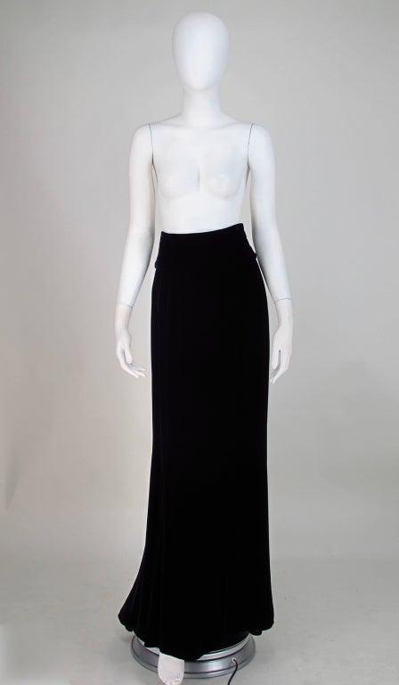 1990s Ungaro black velvet fish tail hem maxi skirt 2
