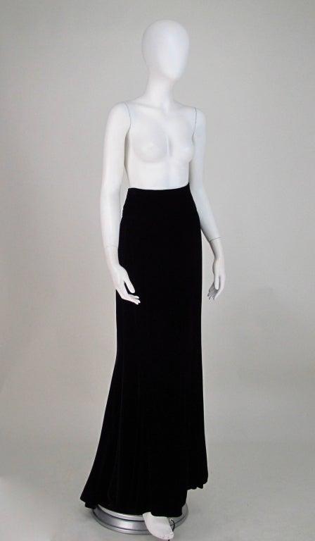 1990s Ungaro black velvet fish tail hem maxi skirt In Excellent Condition For Sale In West Palm Beach, FL
