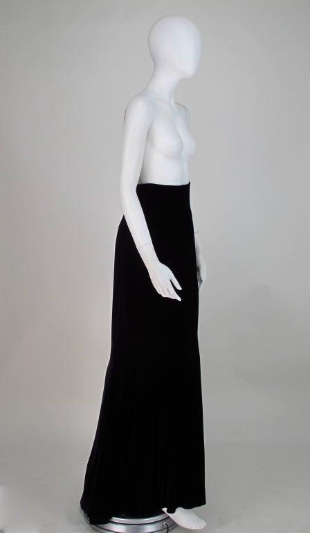 Women's 1990s Ungaro black velvet fish tail hem maxi skirt For Sale