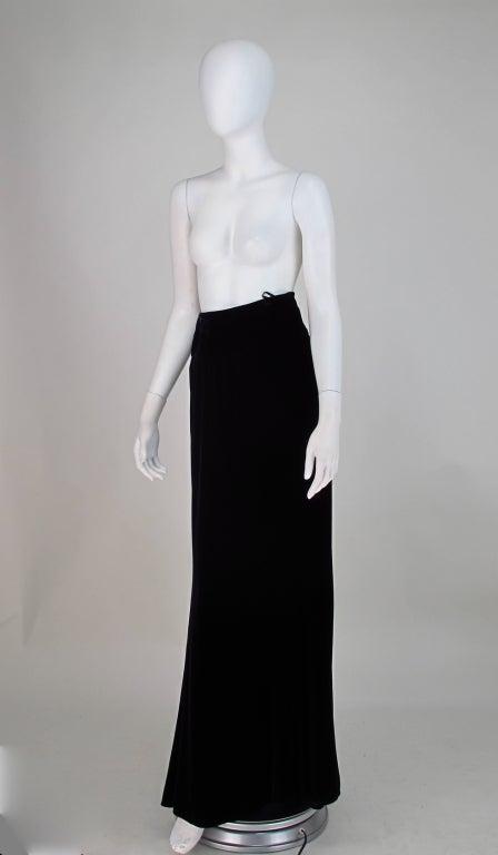 1990s Ungaro black velvet fish tail hem maxi skirt For Sale 1