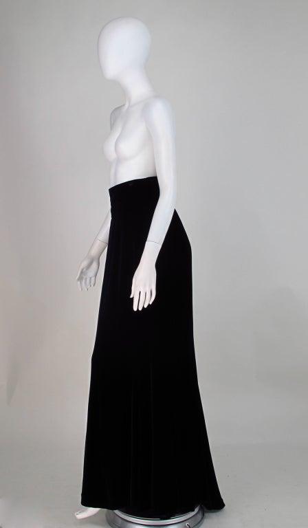 1990s Ungaro black velvet fish tail hem maxi skirt For Sale 2