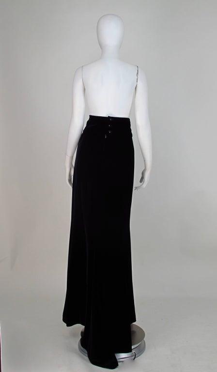 1990s Ungaro black velvet fish tail hem maxi skirt 8