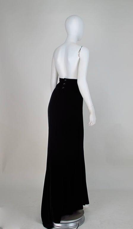 1990s Ungaro black velvet fish tail hem maxi skirt For Sale 5