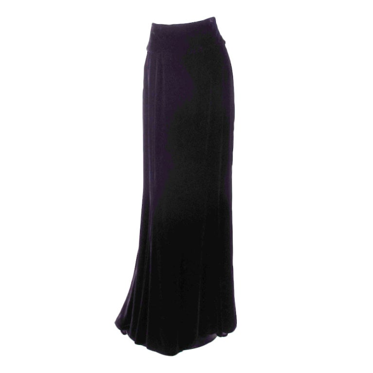 1990s Ungaro black velvet fish tail hem maxi skirt 1
