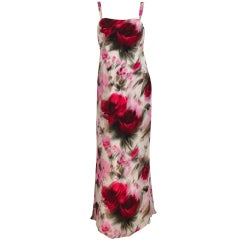1950s Helena Barbieri rose silk chiffon evening gown